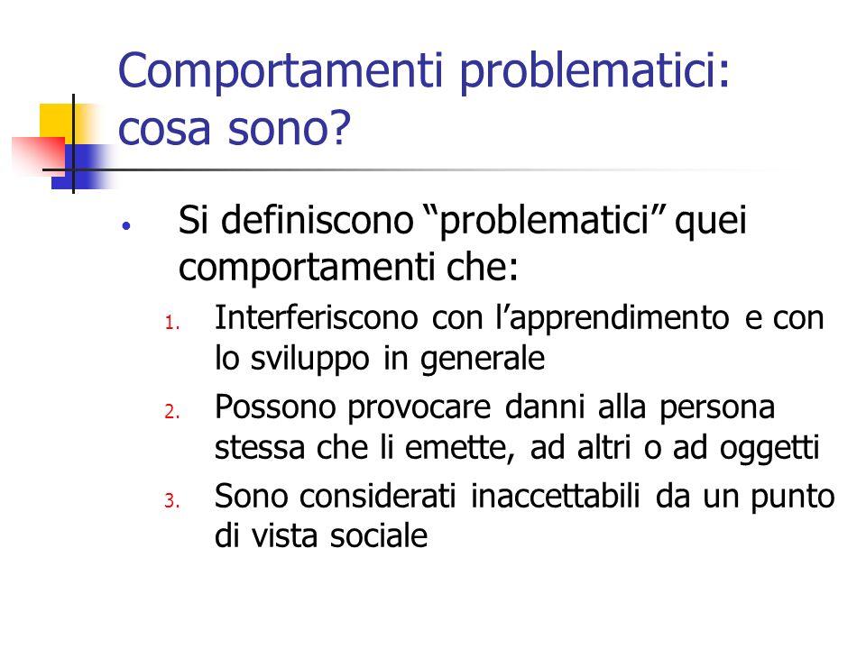 Comportamenti problematici: cosa sono? Si definiscono problematici quei comportamenti che: 1. Interferiscono con lapprendimento e con lo sviluppo in g