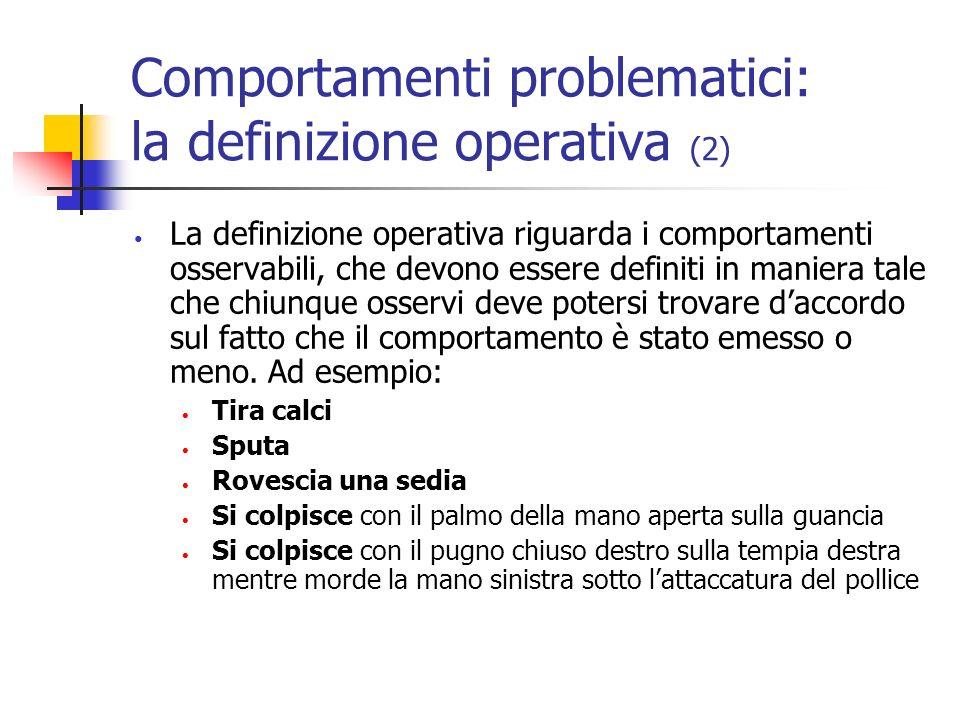 Comportamenti problematici: la valutazione Valutazione quantitativa (quante volte?) Rilevazione della frequenza Valutazione qualitativa (perché?) Analisi funzionale
