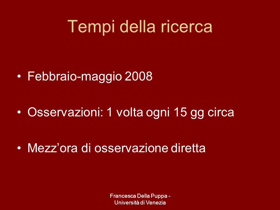 Francesca Della Puppa - Università di Venezia Tempi della ricerca Febbraio-maggio 2008 Osservazioni: 1 volta ogni 15 gg circa Mezzora di osservazione diretta