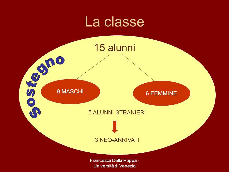 Francesca Della Puppa - Università di Venezia 5 ALUNNI STRANIERI 3 NEO-ARRIVATI La classe 15 alunni 9 MASCHI 6 FEMMINE
