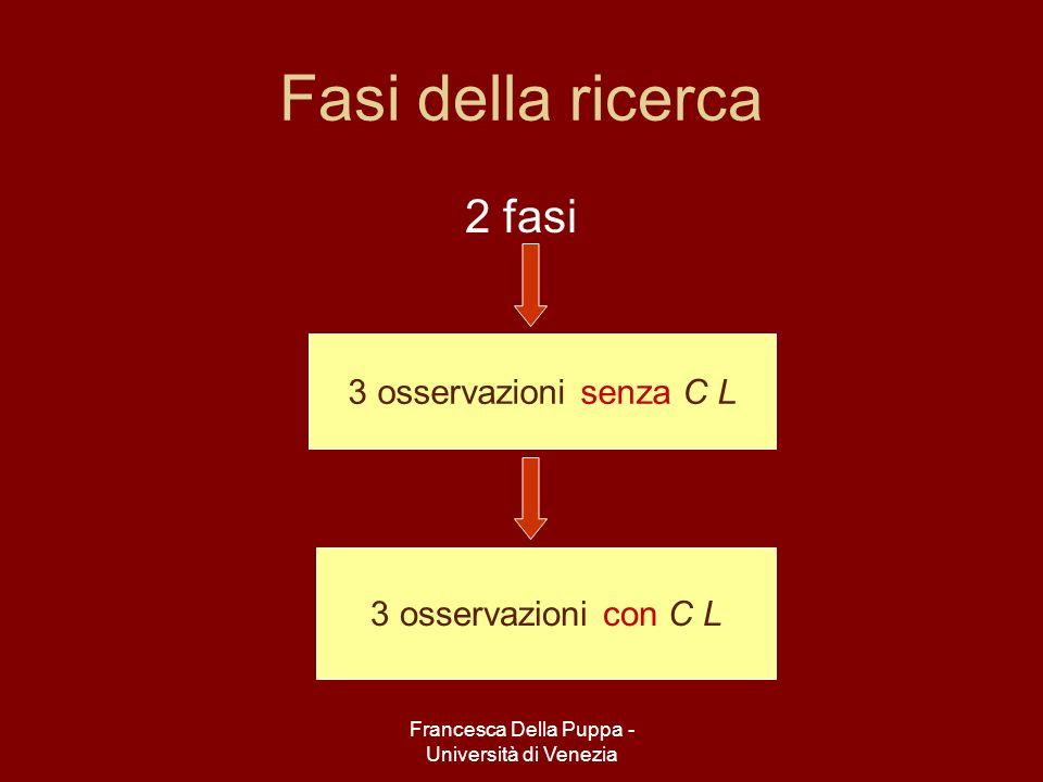 Francesca Della Puppa - Università di Venezia Fasi della ricerca 2 fasi 3 osservazioni senza C L 3 osservazioni con C L