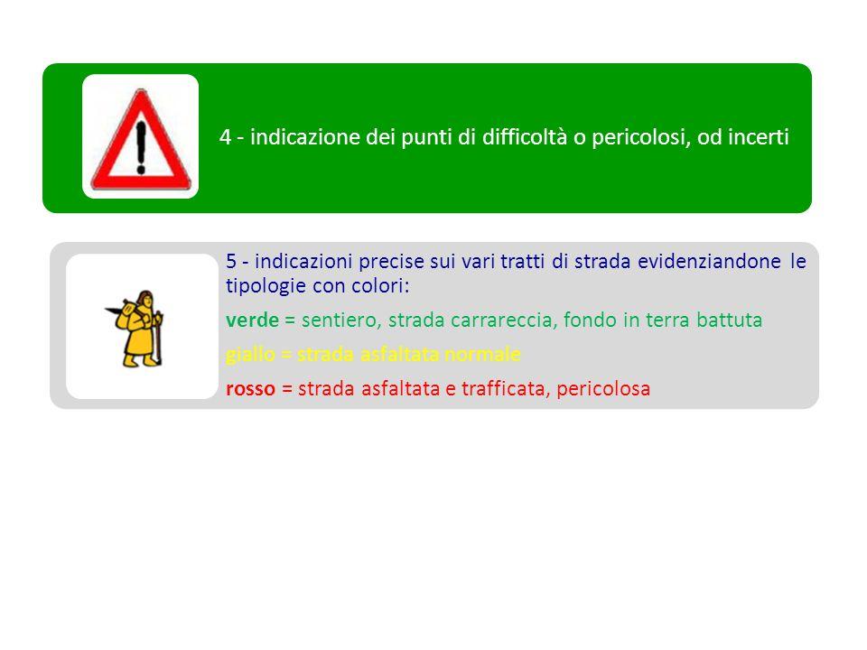 5 - indicazioni precise sui vari tratti di strada evidenziandone le tipologie con colori: verde = sentiero, strada carrareccia, fondo in terra battuta