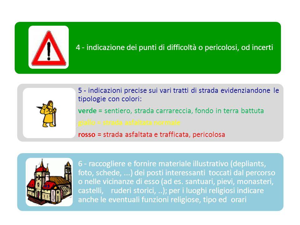 4 - indicazione dei punti di difficoltà o pericolosi, od incerti 5 - indicazioni precise sui vari tratti di strada evidenziandone le tipologie con col