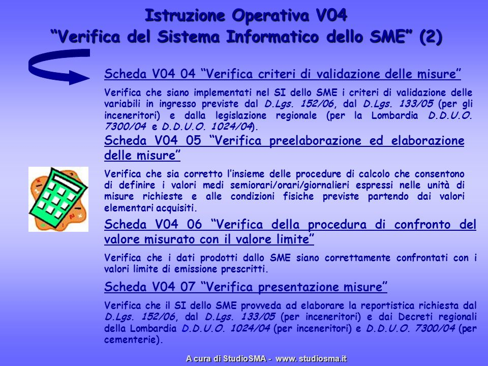 Istruzione Operativa V04 Verifica del Sistema Informatico dello SME (2) Scheda V04 06 Verifica della procedura di confronto del valore misurato con il