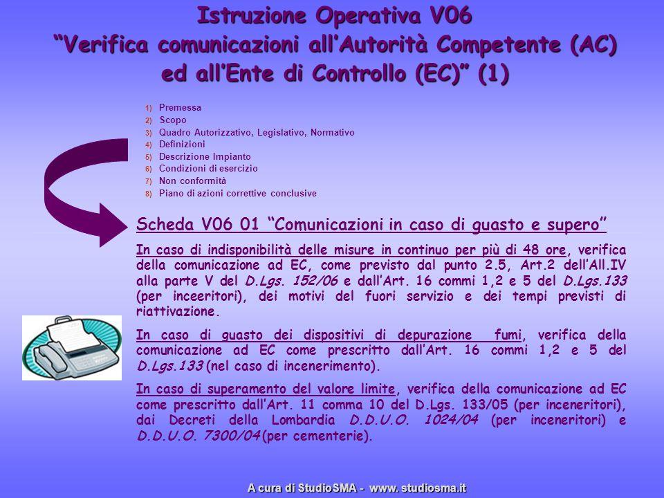 Istruzione Operativa V06 Verifica comunicazioni allAutorità Competente (AC) ed allEnte di Controllo (EC) (1) 1) 1) Premessa 2) 2) Scopo 3) 3) Quadro A