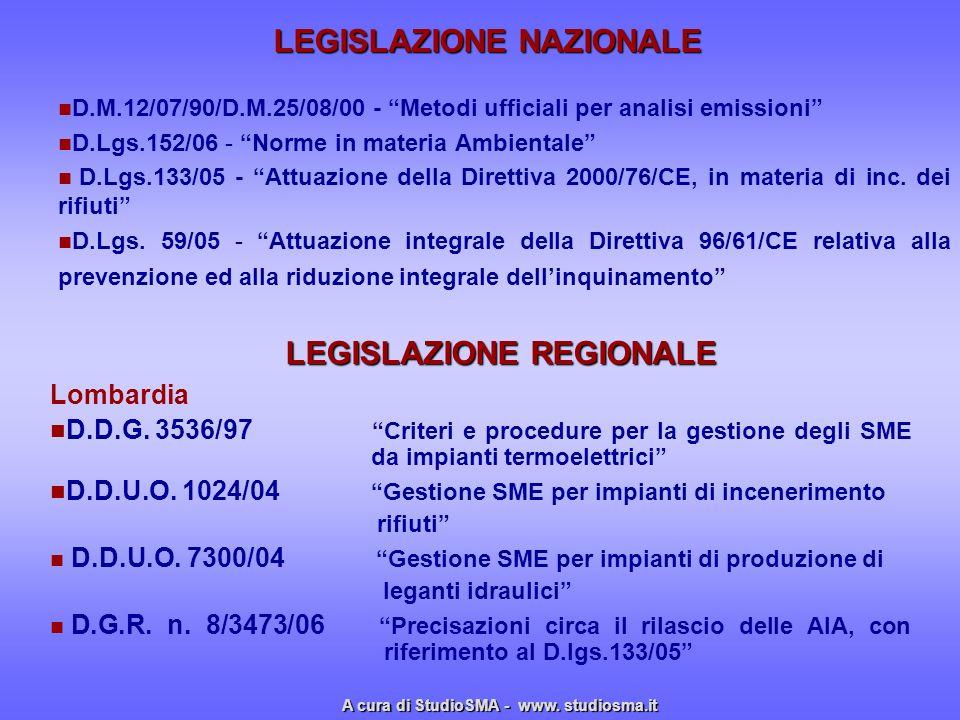 D.M.12/07/90/D.M.25/08/00 - Metodi ufficiali per analisi emissioni D.Lgs.152/06 - Norme in materia Ambientale D.Lgs.133/05 - Attuazione della Direttiv