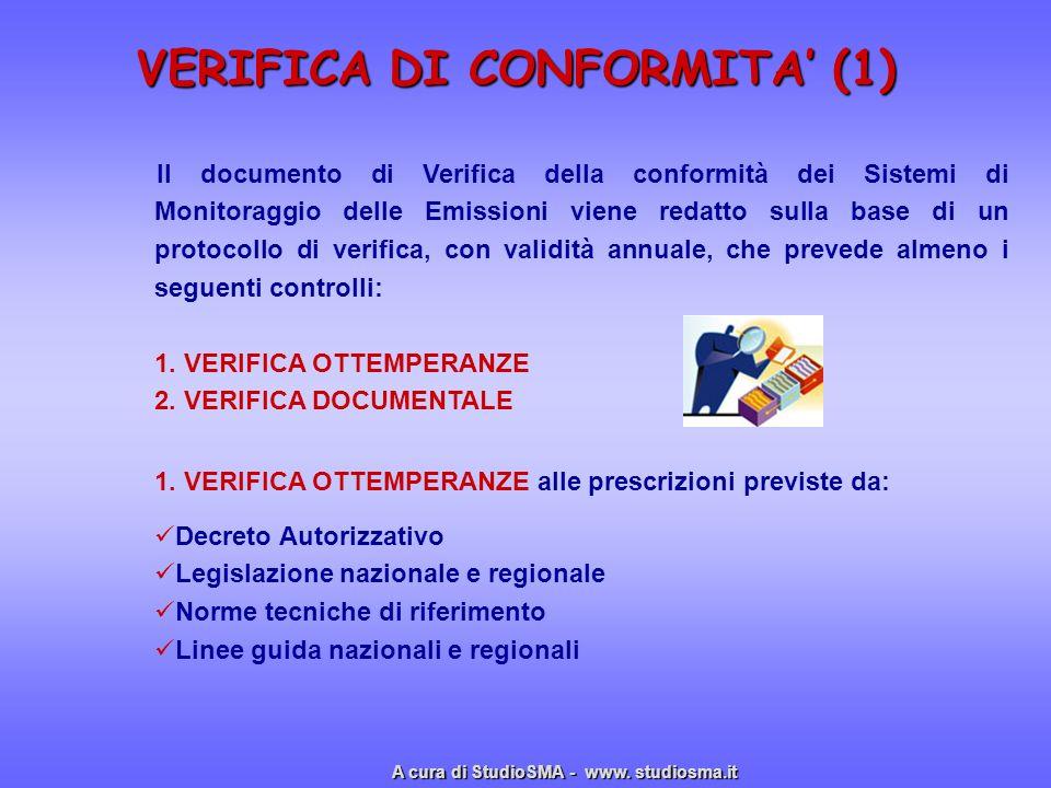 VERIFICA DI CONFORMITA (1) VERIFICA DI CONFORMITA (1) Il documento di Verifica della conformità dei Sistemi di Monitoraggio delle Emissioni viene reda