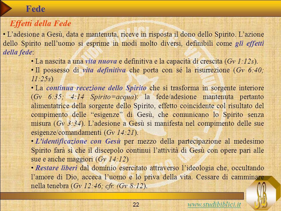 www.studibiblici.it 22 Fede Ladesione a Gesù, data e mantenuta, riceve in risposta il dono dello Spirito. Lazione dello Spirito nelluomo si esprime in