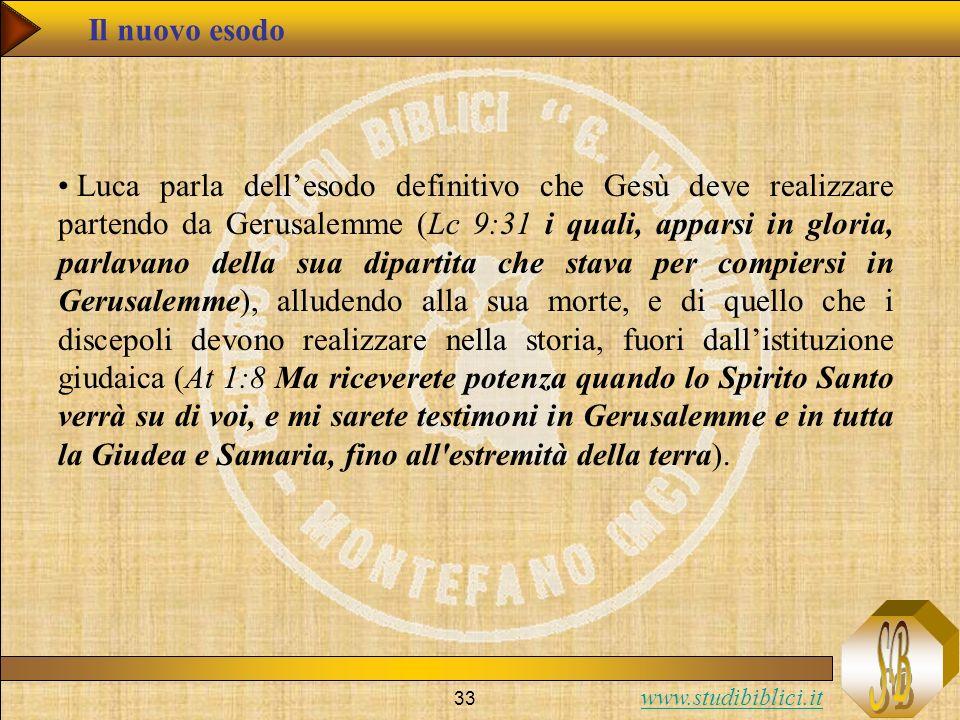 www.studibiblici.it 33 Il nuovo esodo Luca parla dellesodo definitivo che Gesù deve realizzare partendo da Gerusalemme (Lc 9:31 i quali, apparsi in gl
