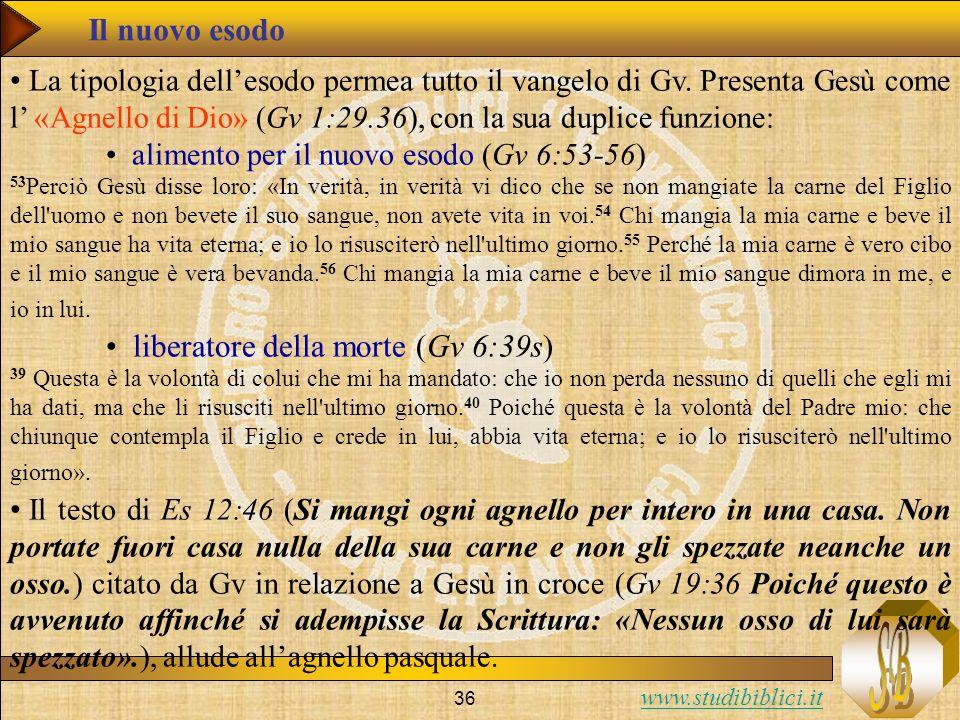 www.studibiblici.it 36 Il nuovo esodo La tipologia dellesodo permea tutto il vangelo di Gv. Presenta Gesù come l «Agnello di Dio» (Gv 1:29.36), con la
