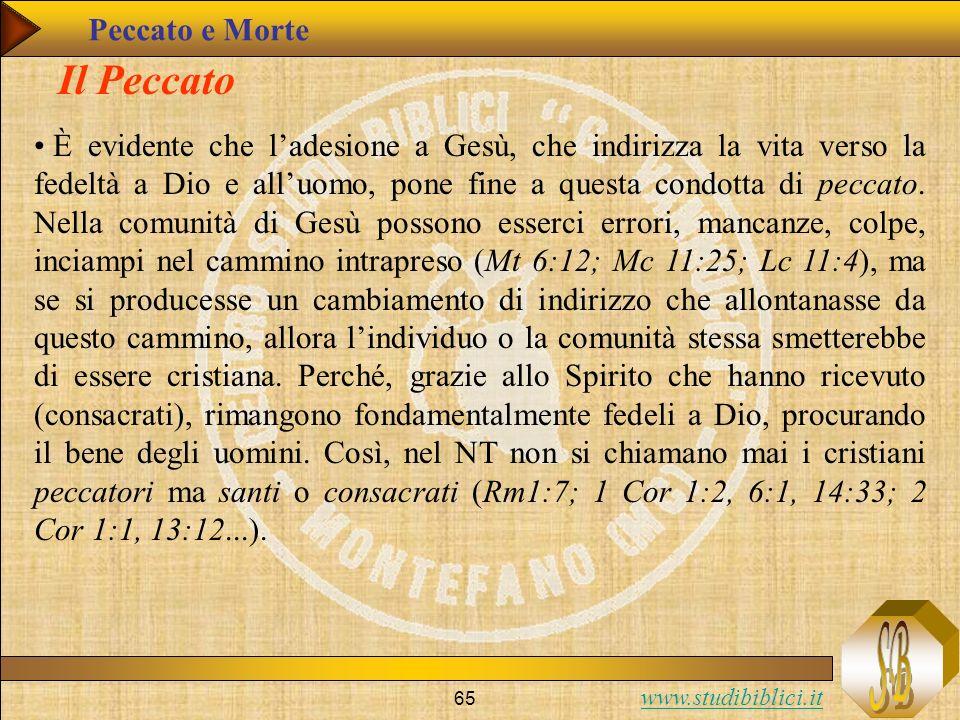 www.studibiblici.it 65 Il Peccato È evidente che ladesione a Gesù, che indirizza la vita verso la fedeltà a Dio e alluomo, pone fine a questa condotta