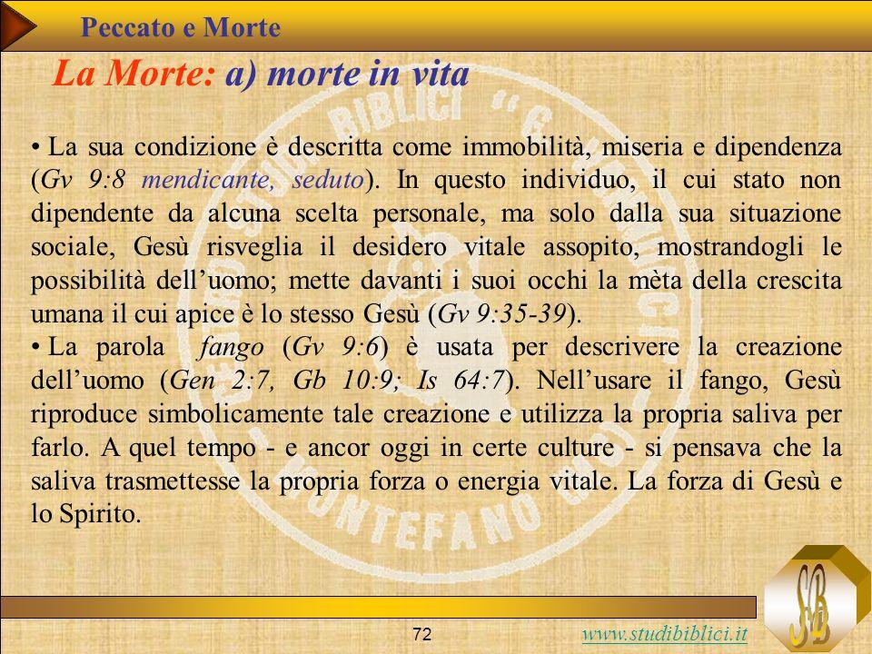 www.studibiblici.it 72 La Morte: a) morte in vita La sua condizione è descritta come immobilità, miseria e dipendenza (Gv 9:8 mendicante, seduto). In