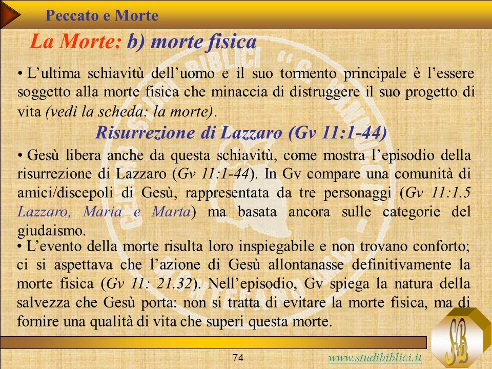 www.studibiblici.it 74 La Morte: b) morte fisica Lultima schiavitù delluomo e il suo tormento principale è lessere soggetto alla morte fisica che mina