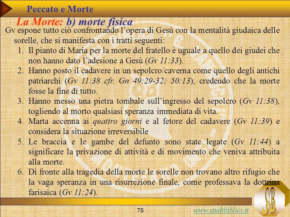 www.studibiblici.it 75 La Morte: b) morte fisica Gv espone tutto ciò confrontando lopera di Gesù con la mentalità giudaica delle sorelle, che si manif