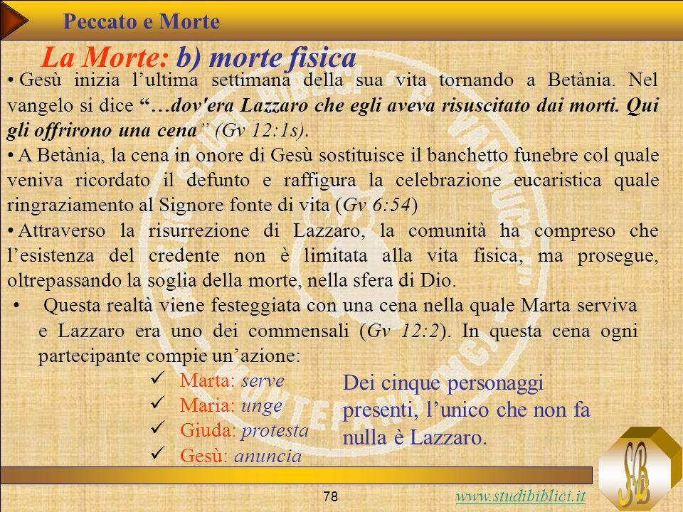 www.studibiblici.it 78 La Morte: b) morte fisica Gesù inizia lultima settimana della sua vita tornando a Betània. Nel vangelo si dice …dov'era Lazzaro