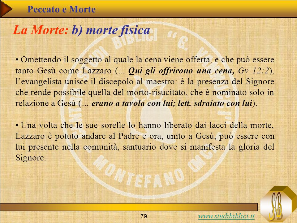 www.studibiblici.it 79 La Morte: b) morte fisica Omettendo il soggetto al quale la cena viene offerta, e che può essere tanto Gesù come Lazzaro (... Q