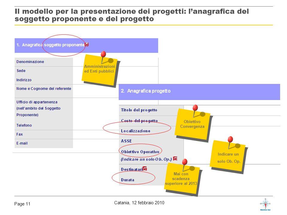 Catania, 12 febbraio 2010 Page 11 Il modello per la presentazione dei progetti: lanagrafica del soggetto proponente e del progetto Amministrazioni ed