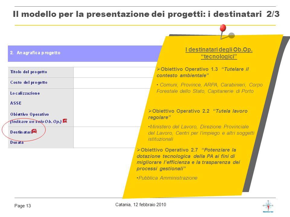 Catania, 12 febbraio 2010 Page 13 Obiettivo Operativo 1.3 Tutelare il contesto ambientale Comuni, Province, ARPA, Carabinieri, Corpo Forestale dello S