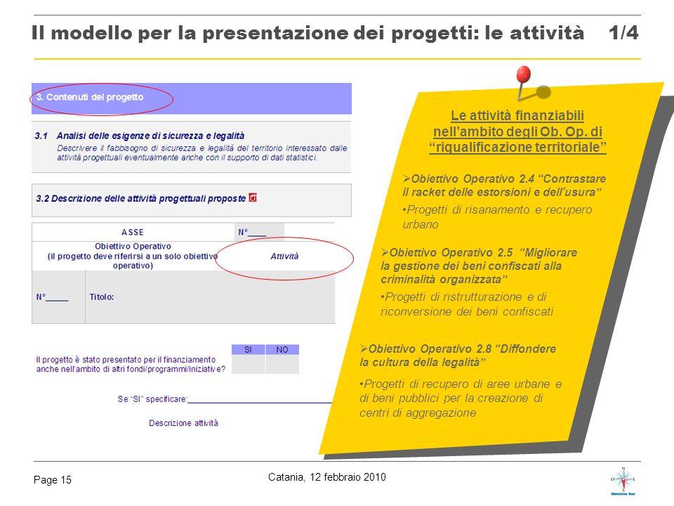 Catania, 12 febbraio 2010 Page 15 Le attività finanziabili nellambito degli Ob. Op. di riqualificazione territoriale Obiettivo Operativo 2.5 Migliorar