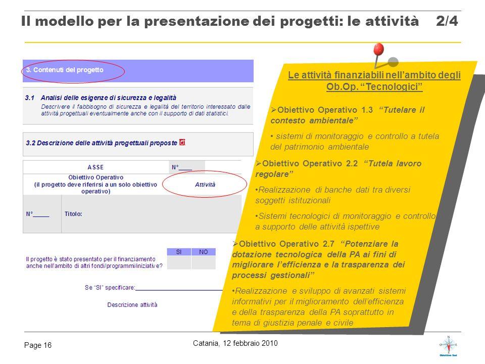 Catania, 12 febbraio 2010 Page 16 Le attività finanziabili nellambito degli Ob.Op. Tecnologici Il modello per la presentazione dei progetti: le attivi