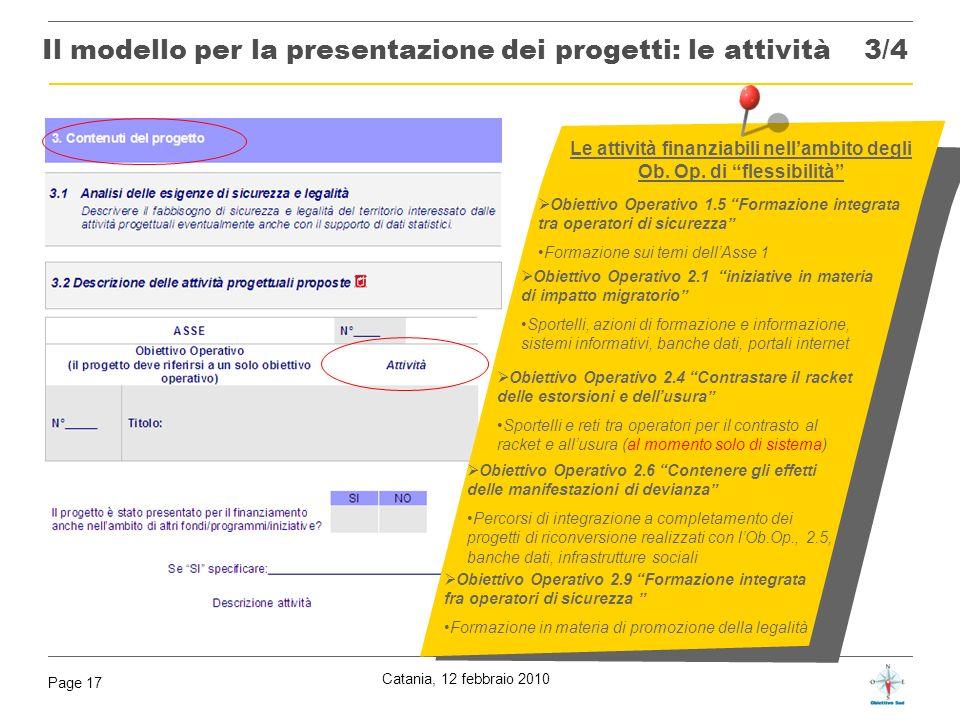 Catania, 12 febbraio 2010 Page 17 Obiettivo Operativo 2.1 iniziative in materia di impatto migratorio Sportelli, azioni di formazione e informazione,