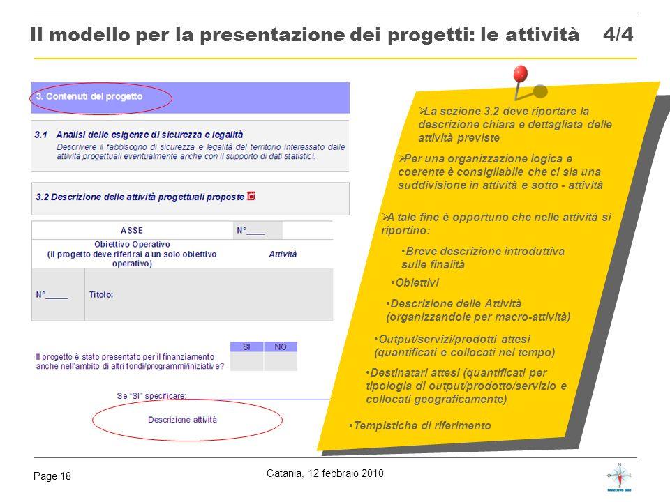 Catania, 12 febbraio 2010 Page 18 La sezione 3.2 deve riportare la descrizione chiara e dettagliata delle attività previste Per una organizzazione log
