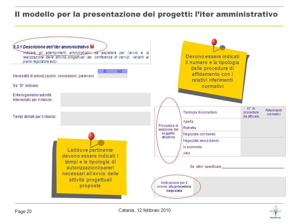 Catania, 12 febbraio 2010 Page 20 Il modello per la presentazione dei progetti: liter amministrativo Indicare il numero e la tipologia delle procedure