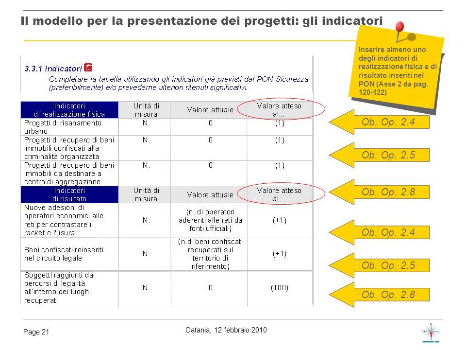 Catania, 12 febbraio 2010 Page 21 Il modello per la presentazione dei progetti: gli indicatori Ob. Op. 2.4 Ob. Op. 2.5Ob. Op. 2.8Ob. Op. 2.5Ob. Op. 2.