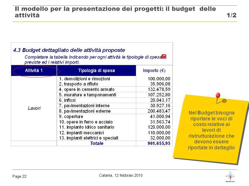 Catania, 12 febbraio 2010 Page 22 Nel Budget bisogna riportare le voci di costo relative ai lavori di ristrutturazione che devono essere riportate in