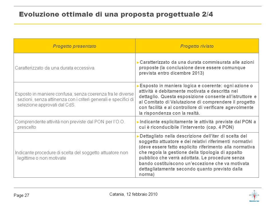 Catania, 12 febbraio 2010 Page 27 Evoluzione ottimale di una proposta progettuale 2/4 Progetto presentatoProgetto rivisto Caratterizzato da una durata