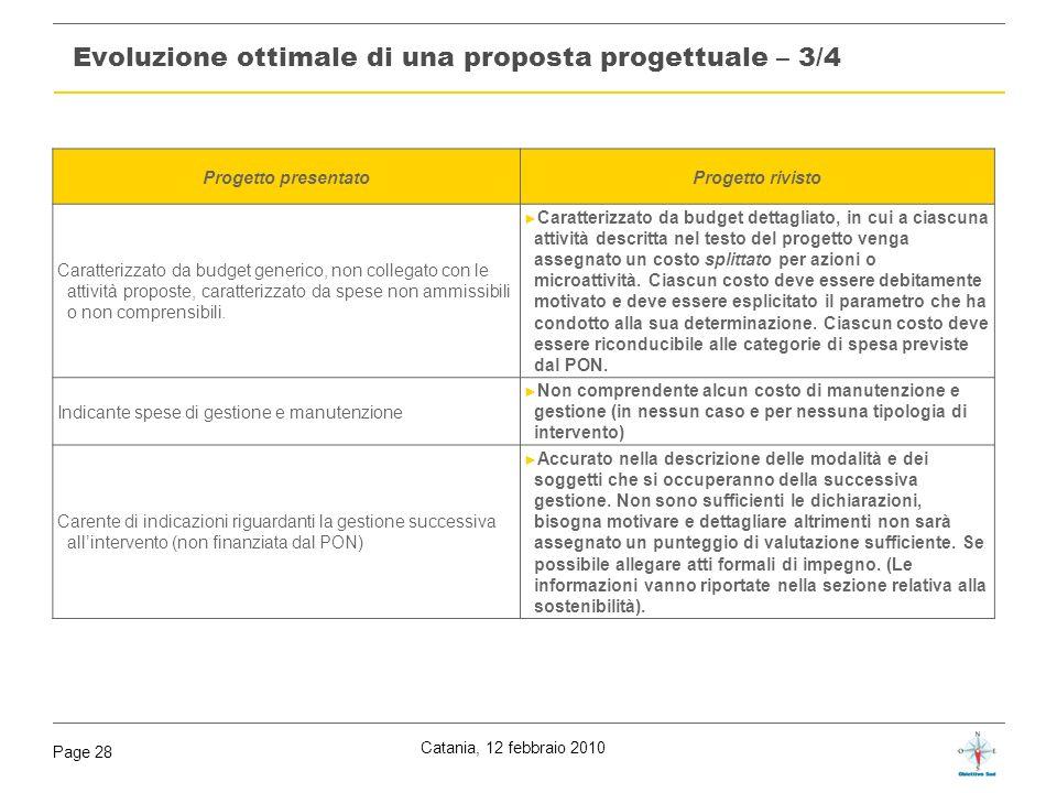 Catania, 12 febbraio 2010 Page 28 Evoluzione ottimale di una proposta progettuale – 3/4 Progetto presentatoProgetto rivisto Caratterizzato da budget g