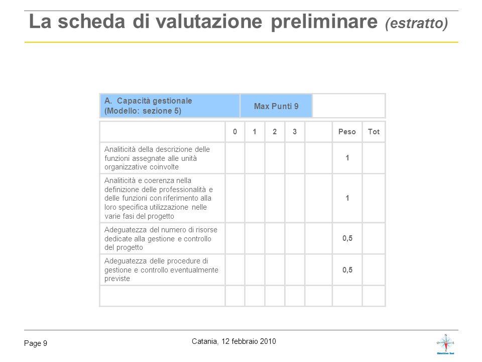 Catania, 12 febbraio 2010 Page 9 La scheda di valutazione preliminare (estratto) A. Capacità gestionale (Modello: sezione 5) Max Punti 9 0123PesoTot A