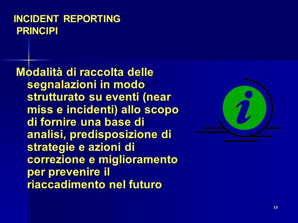 10 INCIDENT REPORTING PRINCIPI Modalità di raccolta delle segnalazioni in modo strutturato su eventi (near miss e incidenti) allo scopo di fornire una