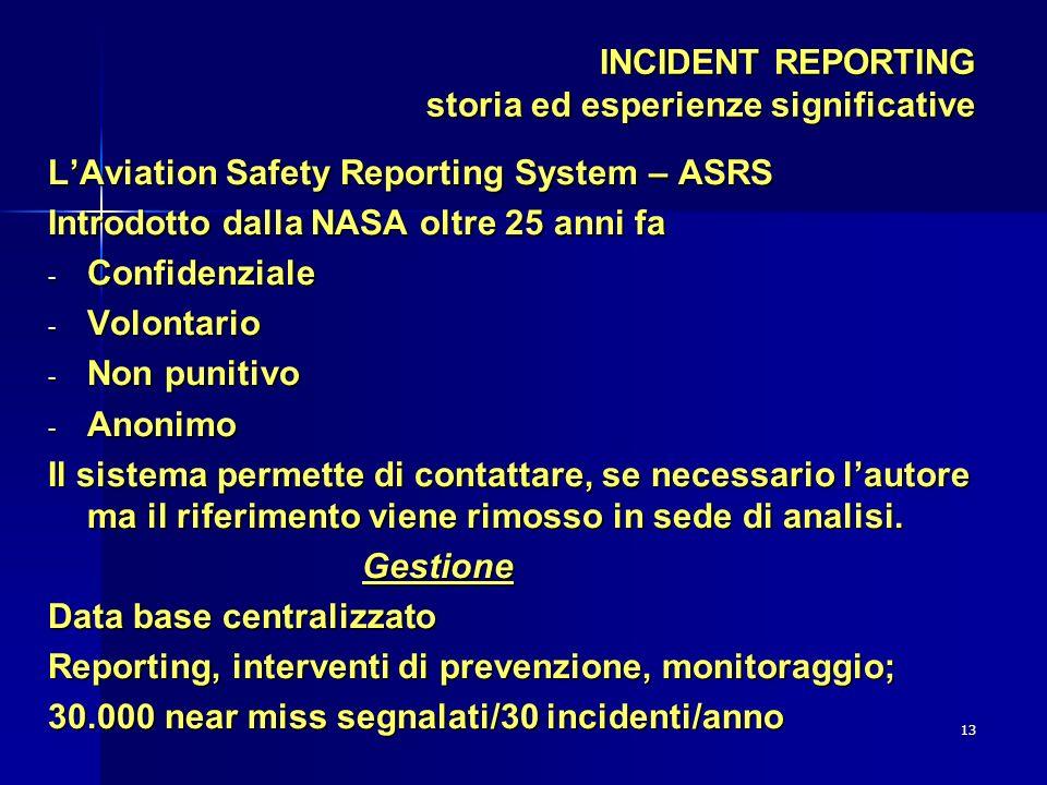13 INCIDENT REPORTING storia ed esperienze significative LAviation Safety Reporting System – ASRS Introdotto dalla NASA oltre 25 anni fa - Confidenzia