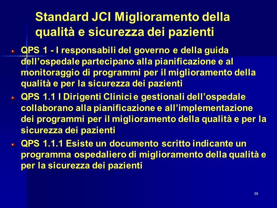 16 Standard JCI Miglioramento della qualità e sicurezza dei pazienti QPS 1 - I responsabili del governo e della guida dellospedale partecipano alla pi