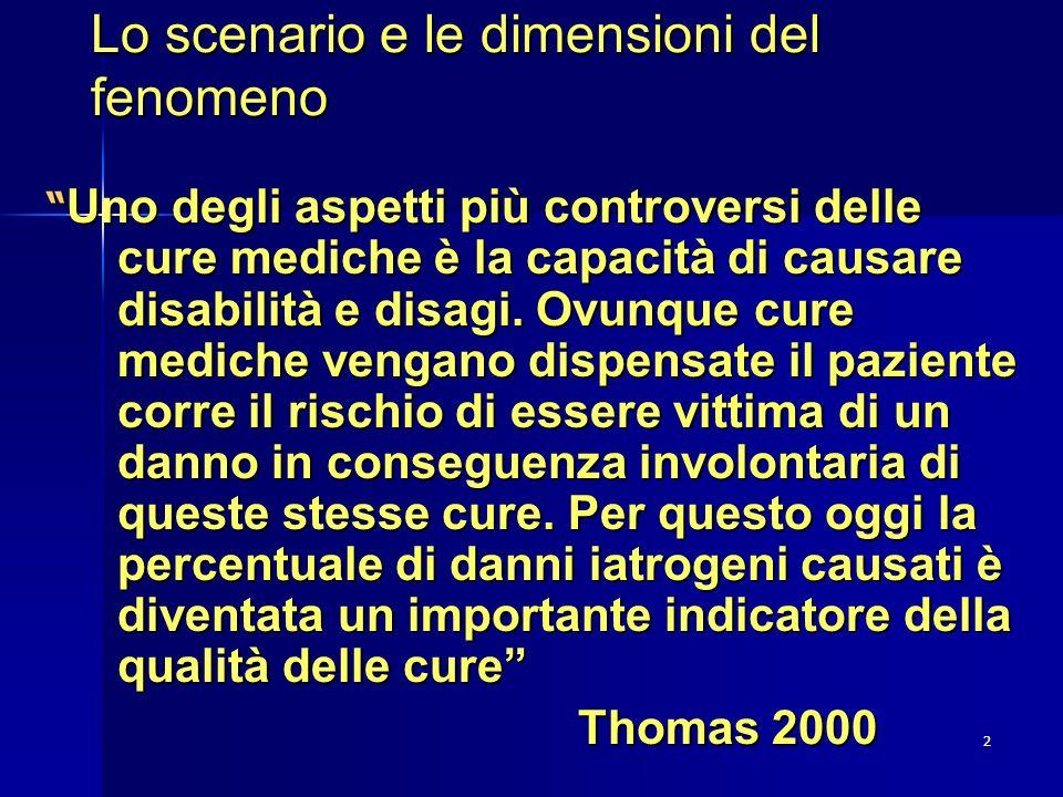 2 Lo scenario e le dimensioni del fenomeno Uno degli aspetti più controversi delle cure mediche è la capacità di causare disabilità e disagi. Ovunque