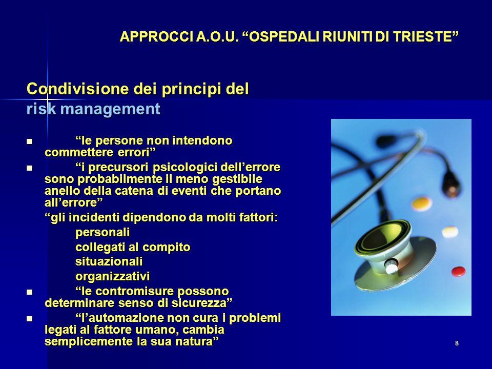 8 APPROCCI A.O.U. OSPEDALI RIUNITI DI TRIESTE Condivisione dei principi del risk management le persone non intendono commettere errori le persone non