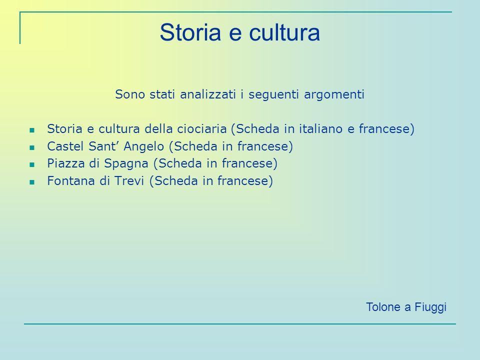 Storia e cultura Sono stati analizzati i seguenti argomenti Storia e cultura della ciociaria (Scheda in italiano e francese) Castel Sant Angelo (Sched