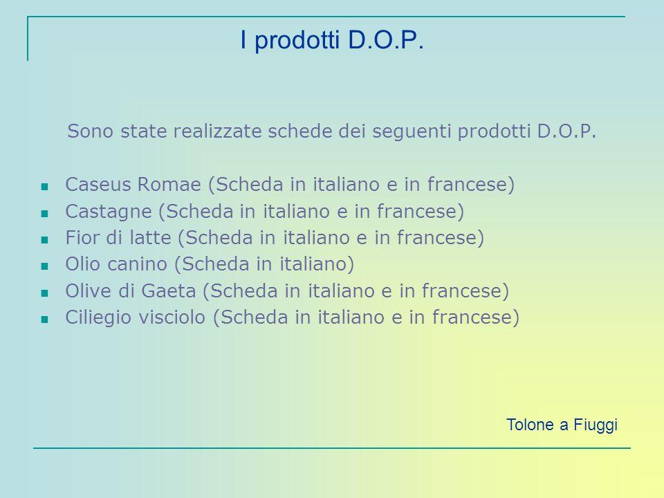 I prodotti D.O.P. Sono state realizzate schede dei seguenti prodotti D.O.P. Caseus Romae (Scheda in italiano e in francese) Castagne (Scheda in italia