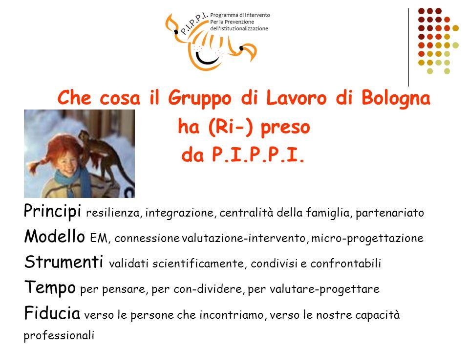 Che cosa il Gruppo di Lavoro di Bologna ha (Ri-) preso da P.I.P.P.I. Principi resilienza, integrazione, centralità della famiglia, partenariato Modell