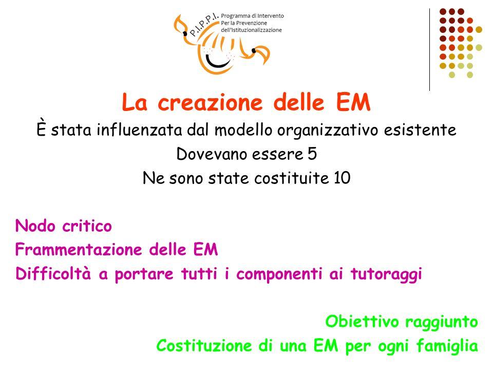 La creazione delle EM È stata influenzata dal modello organizzativo esistente Dovevano essere 5 Ne sono state costituite 10 Nodo critico Frammentazion