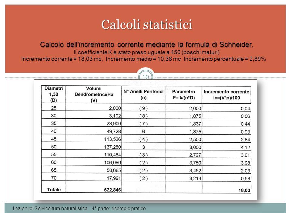 Calcoli statistici Lezioni di Selvicoltura naturalistica 4° parte: esempio pratico 10 Calcolo dellincremento corrente mediante la formula di Schneider