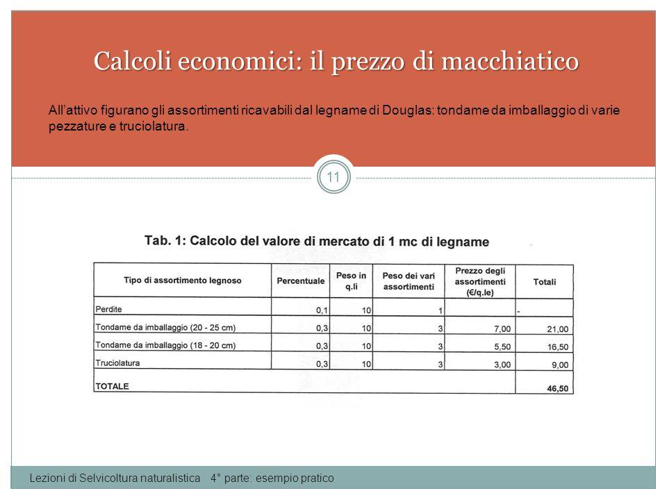 Calcoli economici: il prezzo di macchiatico Lezioni di Selvicoltura naturalistica 4° parte: esempio pratico 11 Allattivo figurano gli assortimenti ric