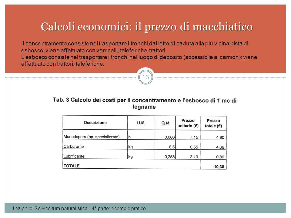 Calcoli economici: il prezzo di macchiatico Lezioni di Selvicoltura naturalistica 4° parte: esempio pratico 13 Il concentramento consiste nel trasport