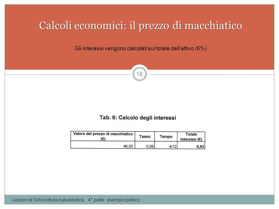 Calcoli economici: il prezzo di macchiatico Lezioni di Selvicoltura naturalistica 4° parte: esempio pratico 16 Gli interessi vengono calcolati sul tot