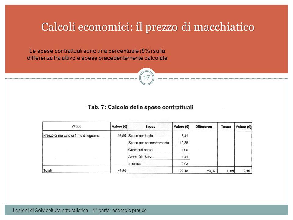 Calcoli economici: il prezzo di macchiatico Lezioni di Selvicoltura naturalistica 4° parte: esempio pratico 17 Le spese contrattuali sono una percentu