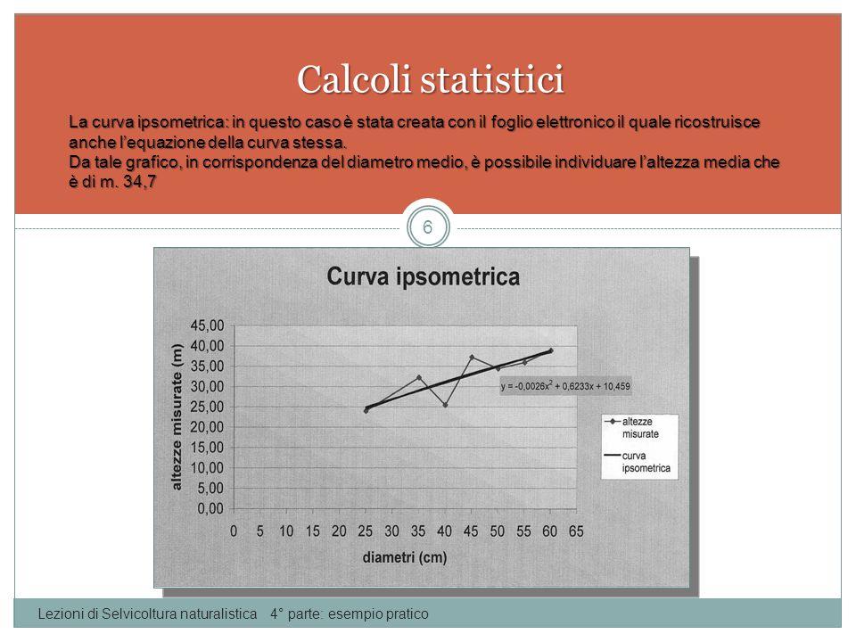 Calcoli statistici Lezioni di Selvicoltura naturalistica 4° parte: esempio pratico 6 La curva ipsometrica: in questo caso è stata creata con il foglio