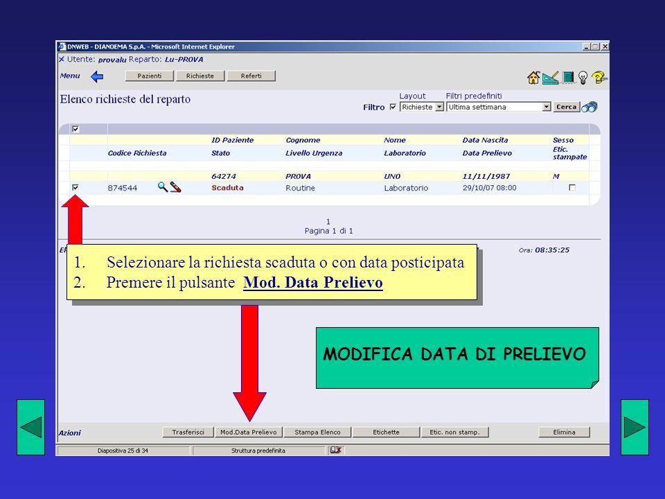 MODIFICA DATA DI PRELIEVO 1.Selezionare la richiesta scaduta o con data posticipata 2.Premere il pulsante Mod.