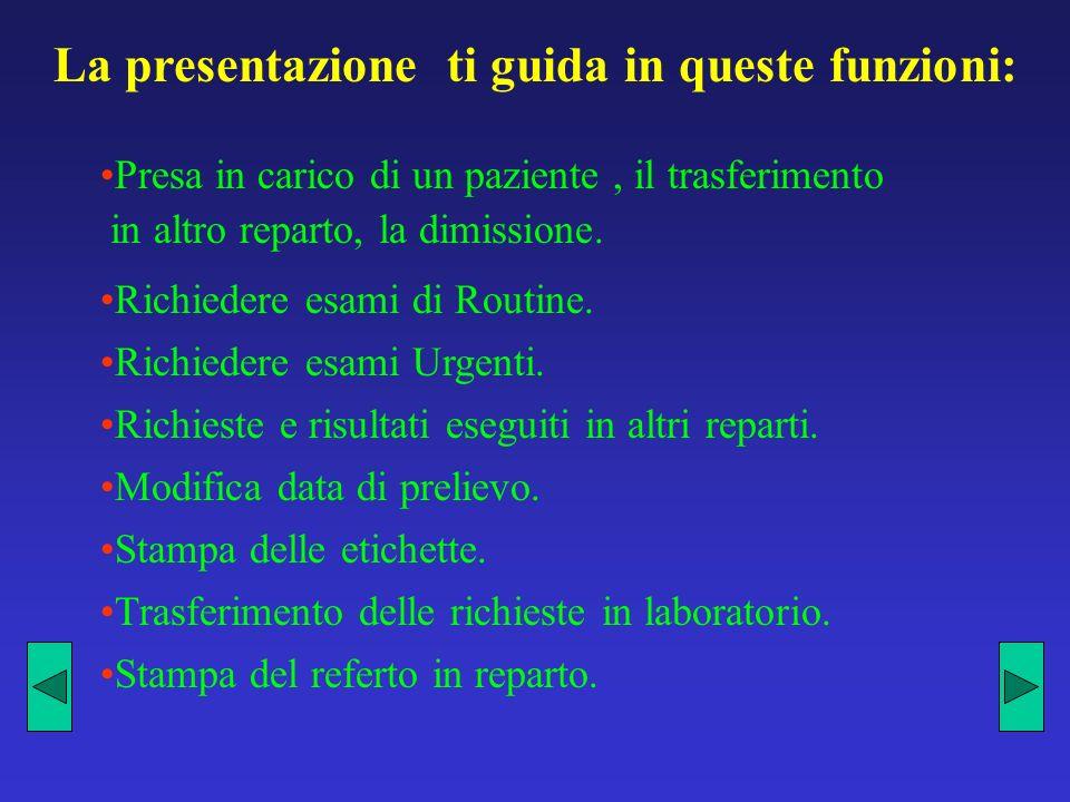 La presentazione ti guida in queste funzioni: Presa in carico di un paziente, il trasferimento in altro reparto, la dimissione.