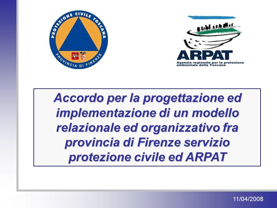 11/04/2008 Accordo per la progettazione ed implementazione di un modello relazionale ed organizzativo fra provincia di Firenze servizio protezione civile ed ARPAT